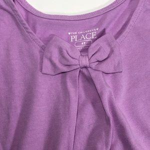 Purple Shirt w Bow, The Children's Place, 4T, EUC